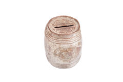 Old rusty and dusty piggy bank for coins isolated on white backg Royalty Free Stock Photo