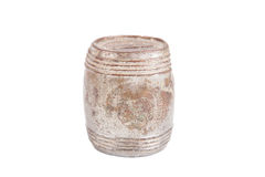 Old rusty and dusty piggy bank for coins isolated on white backg Stock Photos
