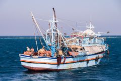 Old and Rusty Egyptian Fishing Boat on the Red Sea stock images