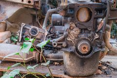 Old rusty engine and car parts with one green plant stock photography
