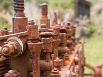 Old and rusty engine close-up at Charming Creek, New Zealand royalty free stock photo