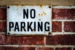 Old No Parking Sign Royalty Free Stock Photography