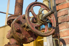Old rusty flanged connection close up Royalty Free Stock Images