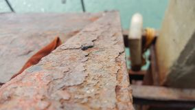 Rusty beam in Kho lanta Thailand. Old rusty foot ladder corroded away by sea water Royalty Free Stock Photography
