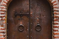 Old rusty gate of the ancient monastery in Georgia. Tbilisi royalty free stock photography