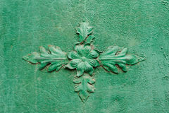 Old rusty gate element. Old rusty element of the gates, decorated with flowers royalty free stock images