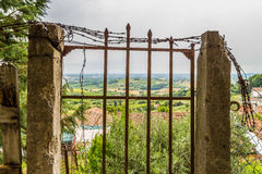 old rusty gate in ruins Royalty Free Stock Images