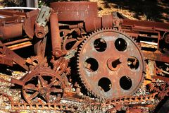 Old rusty gears and cogs. Abstraction of rusty metals stock photos