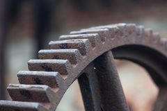 Old rusty gears, machinery parts. Photo of the old rusty gears, machinery parts Royalty Free Stock Image