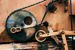 Old rusty gears. Sorting machine element. Can illustrate the steampunk culture, post-apocalypse or used as a background. Old rusty gears. Old rusty gears royalty free stock photography