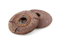 Old Rusty Grinding Disc on white Background Stock Photo