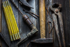Old and rusty hand tools Stock Image