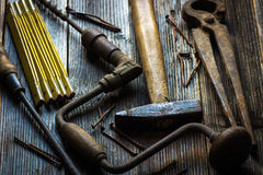 Old and rusty hand tools Royalty Free Stock Photography