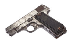 Old rusty handgun on white Stock Photography