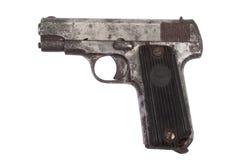 Old rusty handgun on white Royalty Free Stock Photos