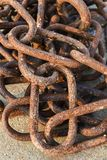 Old and rusty harbor chains. stock photo