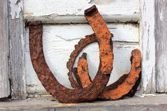 Old rusty horse shoes Stock Photo