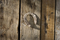 Old and rusty horseshoe. On wood wall Stock Image