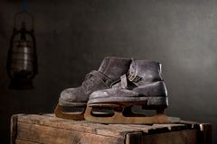 Old Rusty Ice Scates. In the Attic Stock Photography