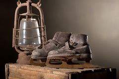 Old Rusty Ice Scates. In the Attic Stock Images
