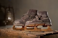 Old Rusty Ice Scates. In the Attic Royalty Free Stock Photography