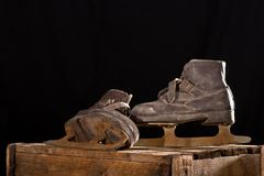 Old Rusty Ice Scates. In the Attic Royalty Free Stock Image