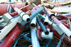 Old rusty industrial pipes. Old rusty metal industrial pipes stock photo