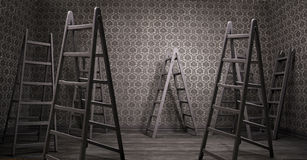 Old rusty interior with many ladders Royalty Free Stock Image