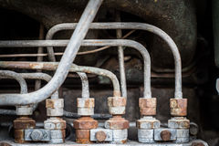 Old rusty iron pipe and scrull in engine power matchine Royalty Free Stock Photos