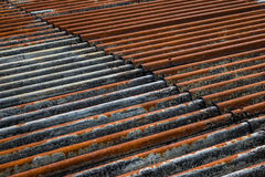 The old and rusty iron roof of a building Stock Images