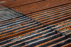 The old and rusty iron roof of a building Royalty Free Stock Photos