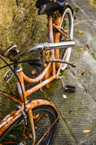 Old Rusty Italian Bicycle. Detail of an old rusty Italian bicycle with no brand, still functional though Stock Photography