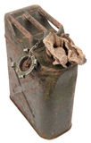 Old rusty jerrycan and cloth Royalty Free Stock Photos