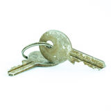 Old and rusty key isolated Stock Photography