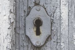 Old rusty keyhole in a close-up royalty free stock photos
