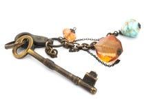 Old rusty keys isolated Stock Photo