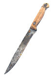 Old rusty knife with wooden handle Stock Images
