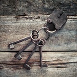 Old rusty lock with keys Royalty Free Stock Image