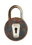Old rusty lock. Old metal rusty closed padlock Stock Photography