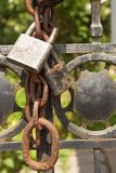 Old rusty lock on a metal gate into the garden. Lock on the iron gate. Symbol imprisonment and slavery. Property security chain Stock Images