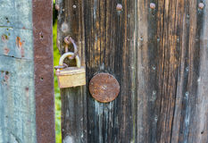 Old rusty lock on a wooden door Royalty Free Stock Images