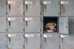 Old Rusty Lockers With One Opened Royalty Free Stock Images
