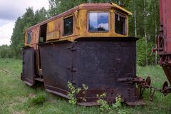 Old Rusty Locomotiv. E in a forest stock photography