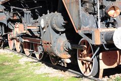 Old rusty locomotive close up. Old rusty locomotive parked on railway station Knin, Croatia. Covered in rust Royalty Free Stock Photography