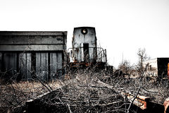 Old rusty locomotive train at a nuclear power plant Stock Photo