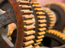 Old rusty machine cogs and gears Stock Photos