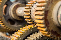 Old rusty machine cogs and gears Stock Photo