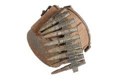 Old rusty machine gun ammunition case. Isolated Royalty Free Stock Photo