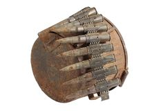 Old rusty machine gun ammunition case. Isolated Royalty Free Stock Image