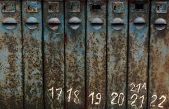 Old rusty mailbox texture with numbers, grunge texture. dirt rust stock images